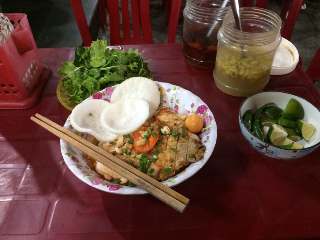 Pork on noodles in Hoian