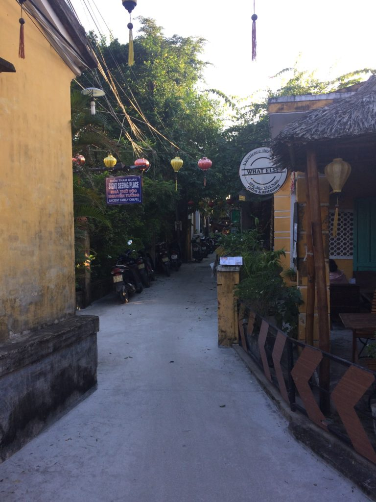 Cafes on small streets in Hoian