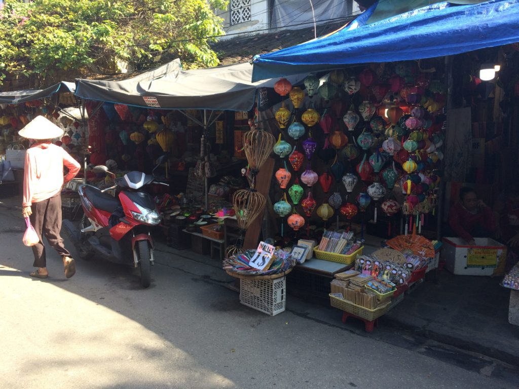 Lanterns are sold in market area in near center of Hoian