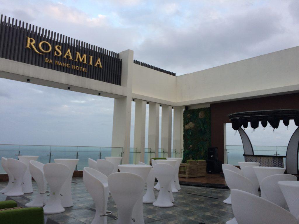SKY BAR at ROSAMIA HOTEL in Danang in the evening