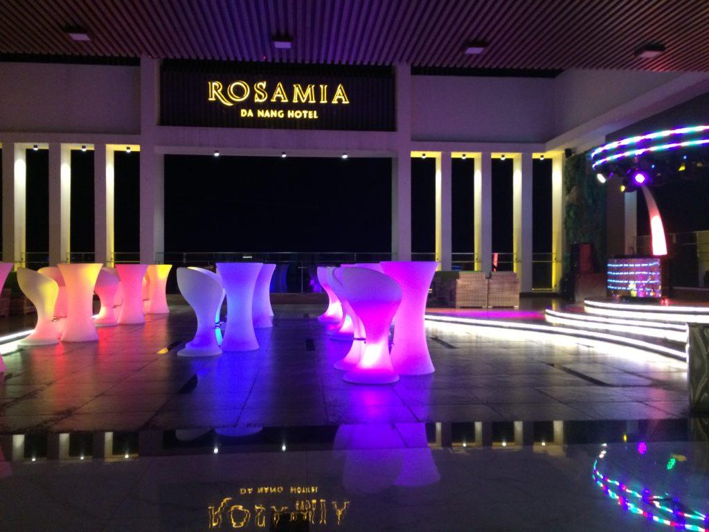 SKY BAR at ROSAMIA HOTEL in Danang, night