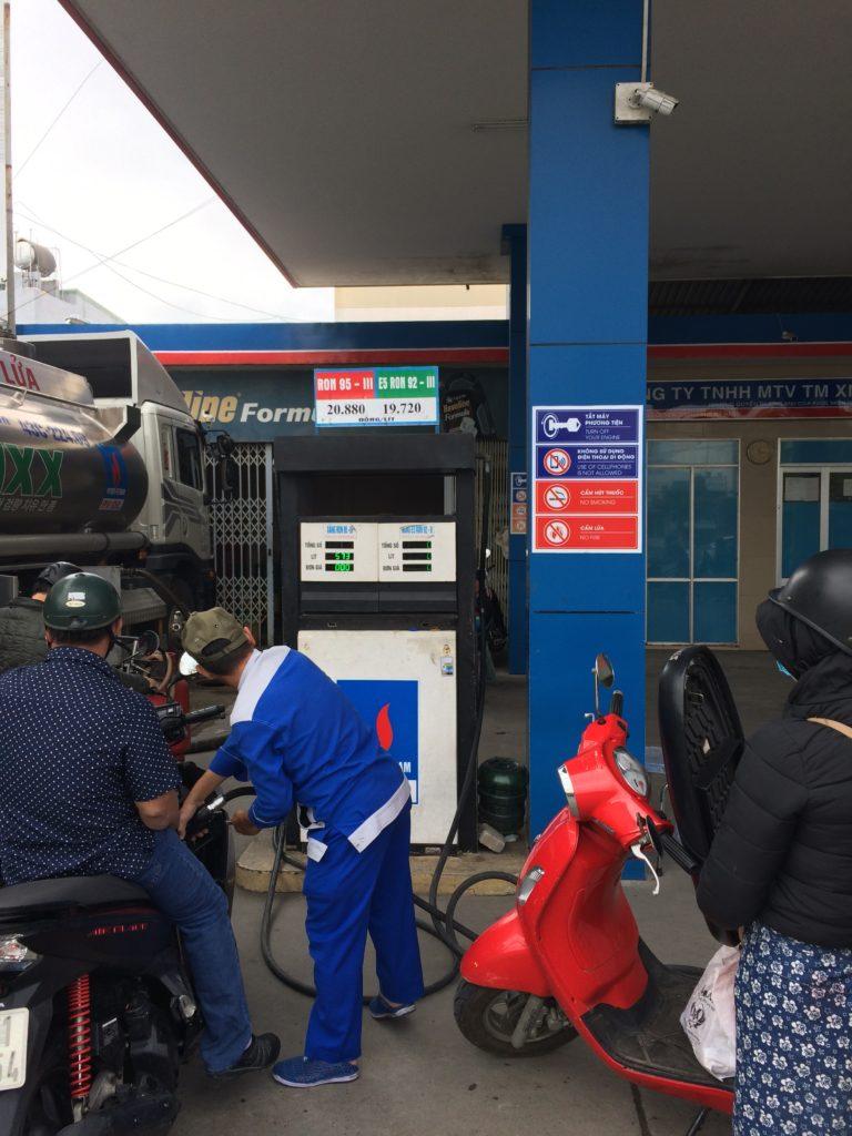 Danang gasoline station for rental motorbike