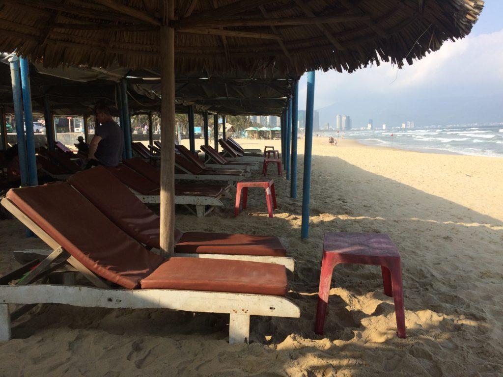 Deck chairs in My Khe beach in Danang