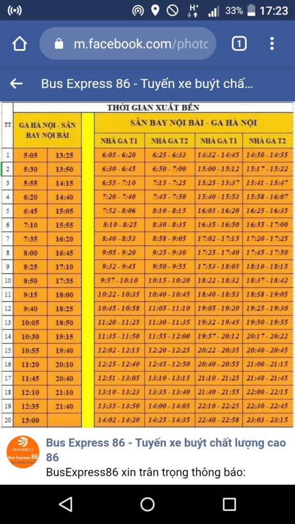Time table of Bus Express 86 from Hanoi Station to Hanoi Noi Bai Airport